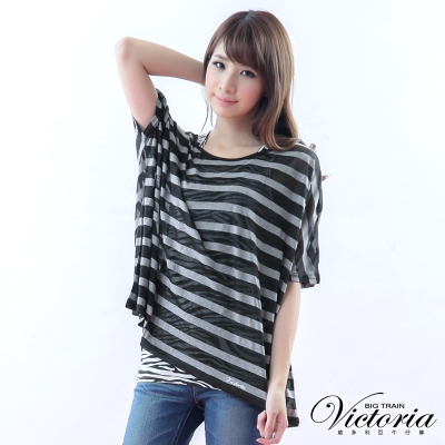 Victoria 兩件式燒花條紋TEE-女-灰色