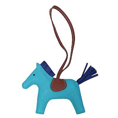 HERMES 小羊皮手工馬兒吊飾(中/藍綠)