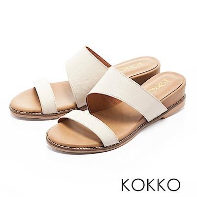 KOKKO-忘憂森林真皮寬版簡約涼拖鞋-亮眼白