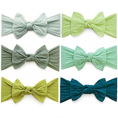 Baby Bling 綠色系大蝴蝶結寬版寶寶素色髮帶-七色任選