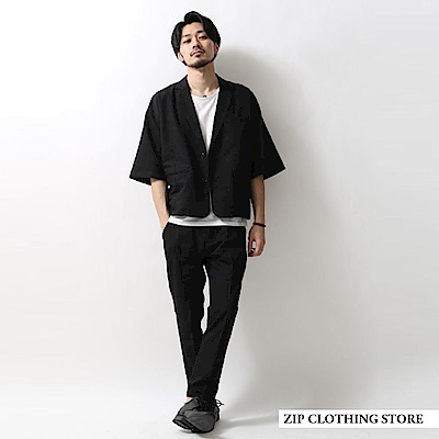 休閒七分袖西裝套裝(6色) ZIP日本男裝