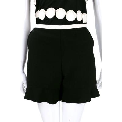 SEE BY CHLOE  黑x白色拼接設計荷葉剪裁短褲
