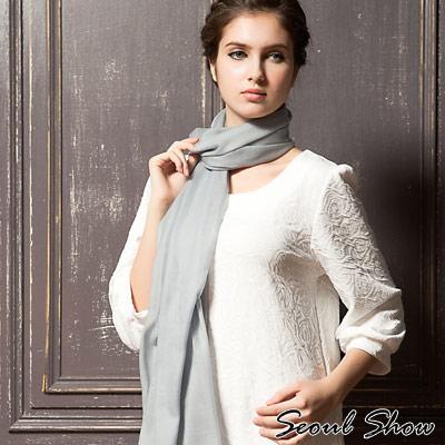 Seoul-Show-200支水溶100-純羊毛高級圍巾披肩11色-藍灰色
