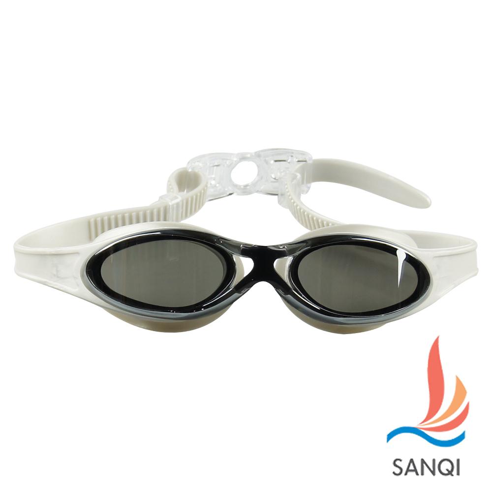 SANQI三奇 夏日必備抗UV防霧休閒泳鏡(380-灰F)