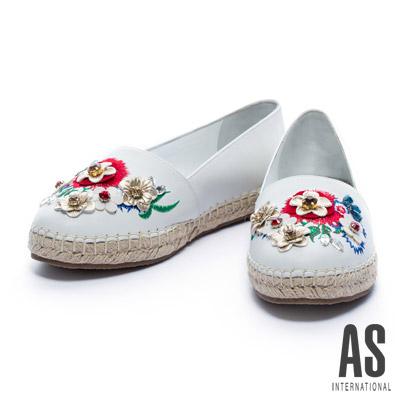 休閒鞋-AS-繽紛花漾全羊皮草編厚底休閒鞋-白