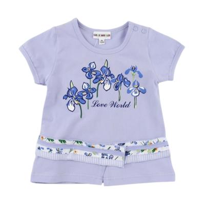 愛的世界鳶尾花印圖短袖上衣1~3歲