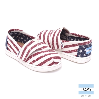 TOMS 經典國旗條紋懶人鞋-幼童款