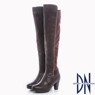DN-女神風範-牛皮MIX超彈力布貼腿過膝長靴-咖