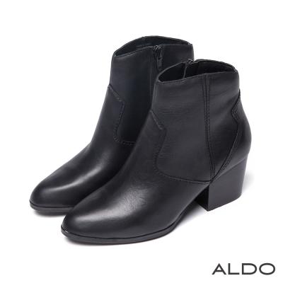 ALDO-原色真皮幾何壓紋車線木紋粗跟短靴-真皮黑