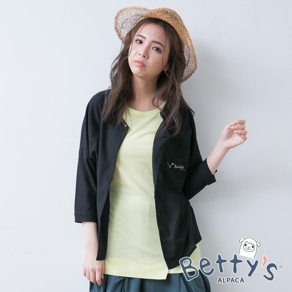 betty's貝蒂思 寬肩繡線長袖襯衫(黑色)