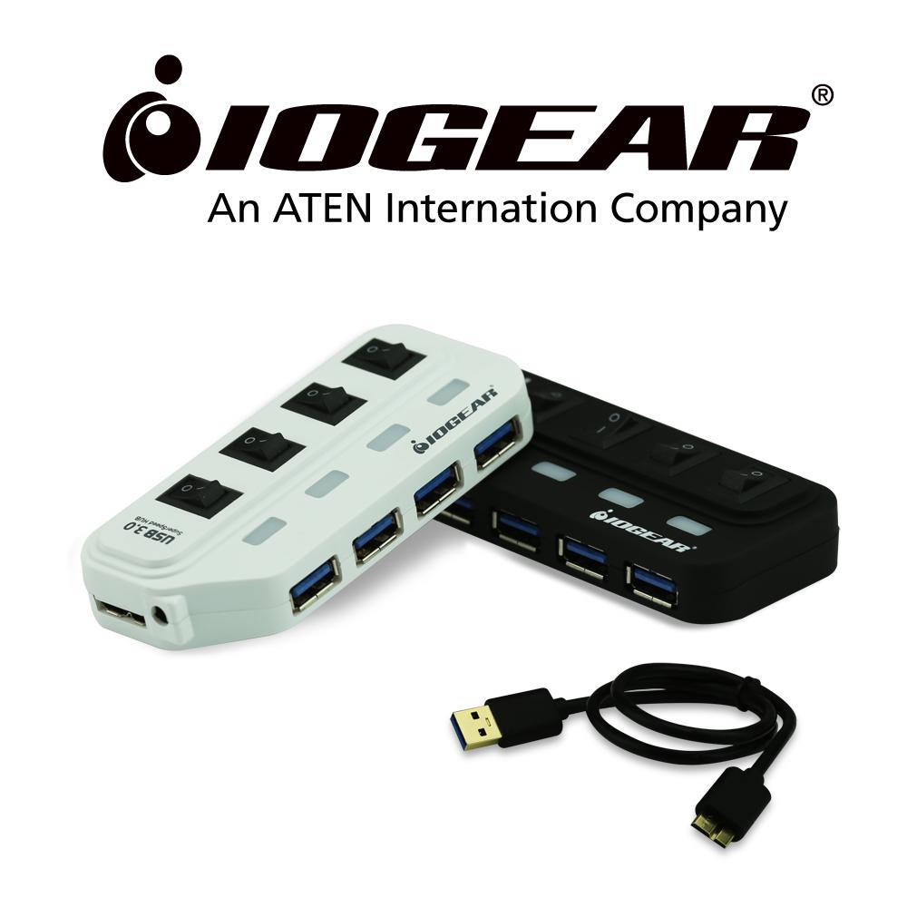 IOGEAR 節能開關USB3.0 4埠HUB集線器-白
