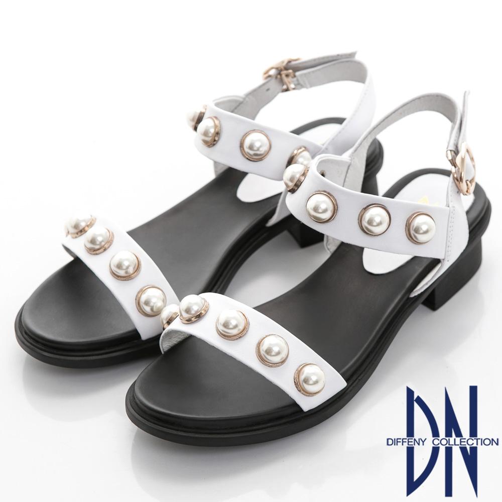 DN 海洋名媛 華麗珍珠一字低跟涼鞋-白