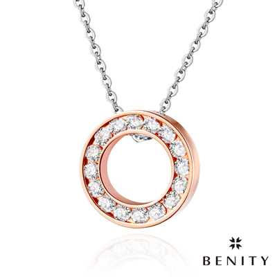 BENITY 華麗旅程 玫瑰K款 八心八箭cz美鑽 鍍 22 K玫瑰金  316 白鋼鍊 女項鍊