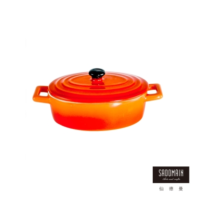 仙德曼SADOMAIN 亮彩焗烤雙耳橢圓形盅焗烤盤(小)紅色