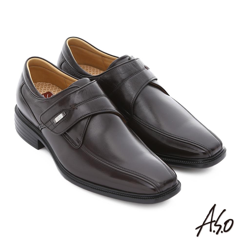 A.S.O 輕旅健步 純羊皮魔鬼氈奈米氣墊皮鞋 咖啡