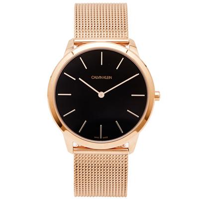 CK Calvin Klein 玫瑰金色的米蘭帶手錶(K3M2T621)-黑面/43mm