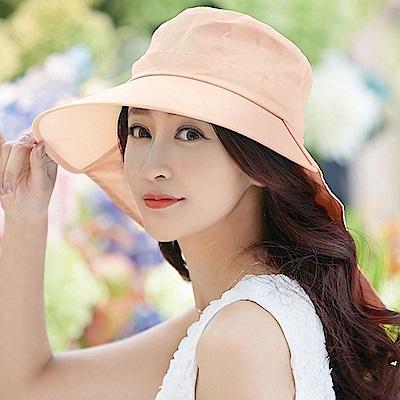 【幸福揚邑】清爽優雅抗UV護頸大帽檐可捲收露馬尾遮陽帽-粉