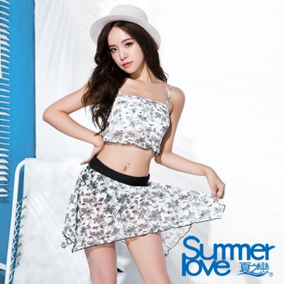 夏之戀SUMMERLOVE 比基尼泳裝 平口短版三件式泳衣 白色花朵圖騰
