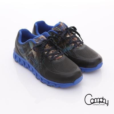 Comphy 超輕漫步 渲染圖騰印刷透氣網布綁帶運動鞋 藍