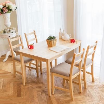 CiS自然行實木家具- 北歐實木餐桌椅組一桌四椅 74*118公分/原木+淺灰色椅墊