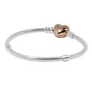 Pandora 潘朵拉 玫瑰金愛心扣頭 925純銀 蛇鍊手鍊手環