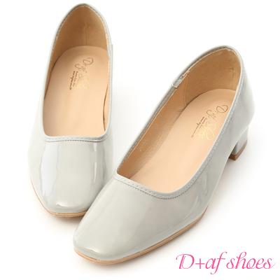 D+AF 優雅質感.素面方頭漆皮低跟鞋*灰