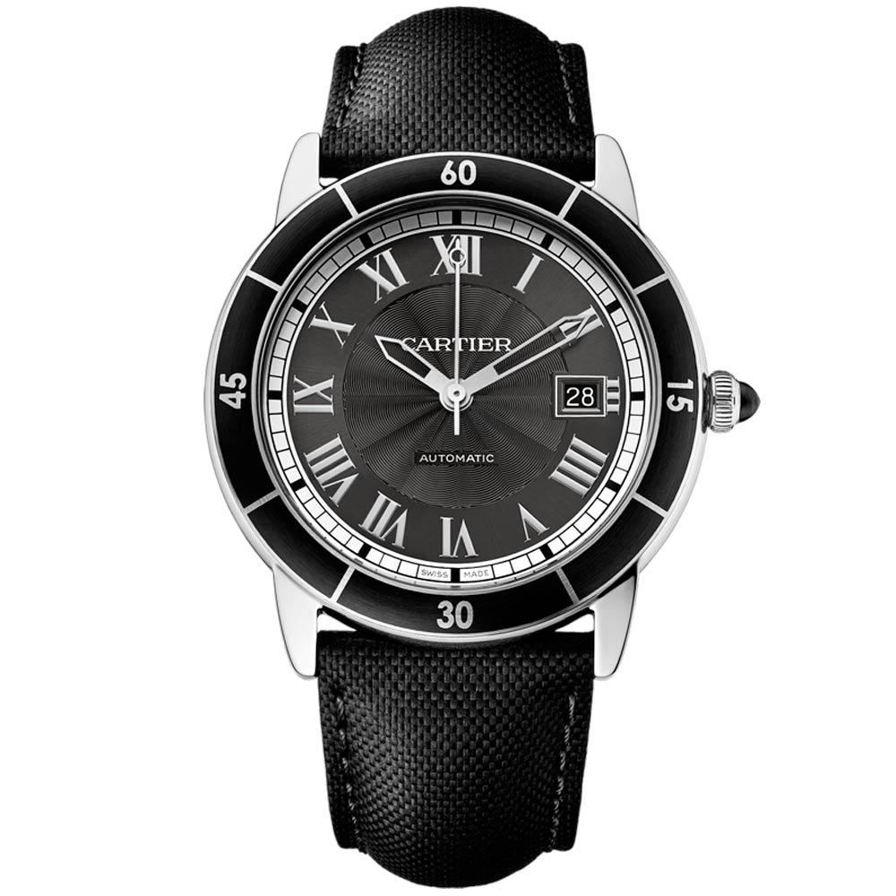 CARTIER 卡地亞 RONDE系列羅馬數字雕紋錶盤男腕錶黑面(WSRN0003)-42mm