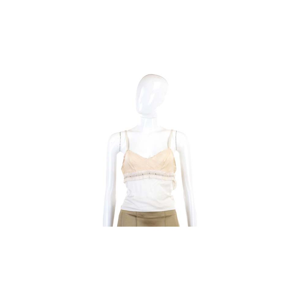 CHLOE 米x裸色拼接鉚釘細肩帶上衣(展示品)