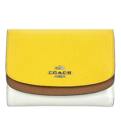 COACH-荔枝皮三折皮革中夾-黃