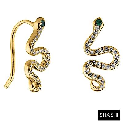SHASHI 美鑽蛇耳環 貼合耳廓耳環 925純銀鑲18K金 SNAKE CLIMBER