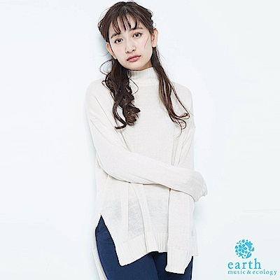 earth music 側開衩高領落肩剪裁針織上衣