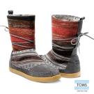 TOMS 民俗圖紋針織麂皮拼接雪靴-女款(灰)