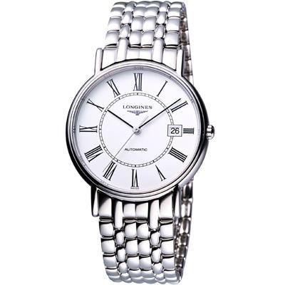LONGINES Presence 經典羅馬機械腕錶-白/38.5mm L49214116