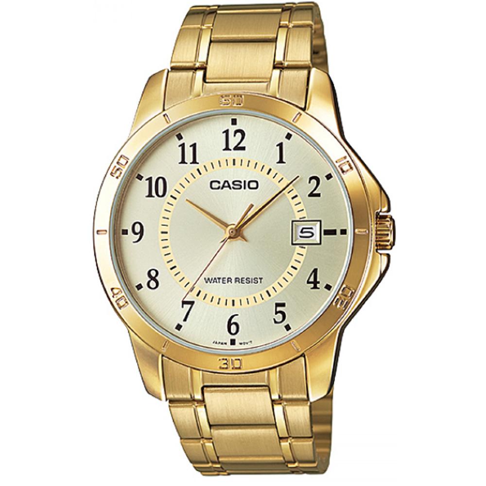 CASIO 經典復古時尚簡約指針紳士日曆腕錶-金X黃面(MTP-V004G-9)/40mm