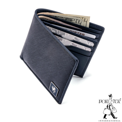 PORTER - 法式時尚BEND多夾層橫式皮夾 - 深藍