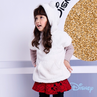 Disney Baby 俏耳朵連帽女孩珊瑚絨長上衣 奶油白