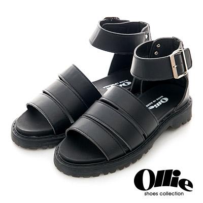 Ollie韓國空運-正韓製寬版皮革三線繞踝羅馬涼鞋-黑