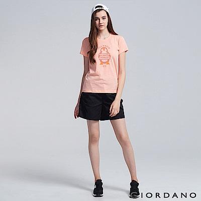 GIORDANO 女裝純棉綁帶休閒卡其短褲-09 標誌黑