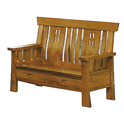 品家居 米格魯柚木實木雙人收納椅(不含椅墊)-139x70x101cm-免組
