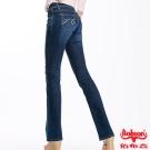 【BOBSON】女款磨力美人亮鑽小喇叭牛仔褲(藍52)