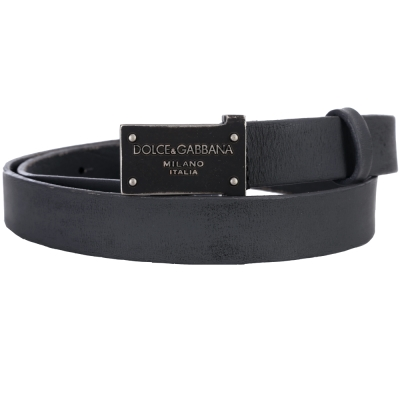 DOLCE & GABBANA 方型金屬牌飾皮革腰帶(深灰色)