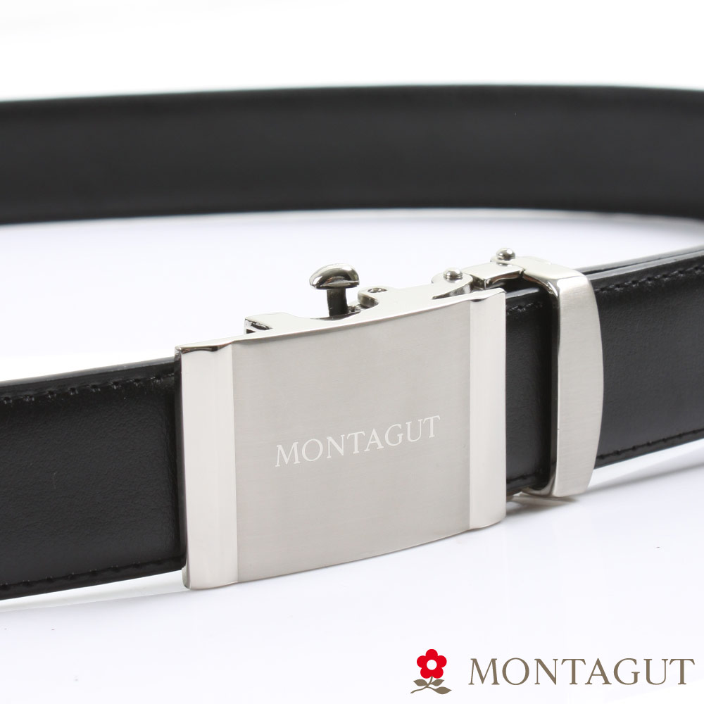 MONTAGUT夢特嬌-經典霧Logo款-二層牛皮自動扣皮帶-754