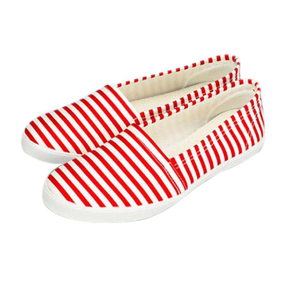 FUFA MIT  清新條紋舒適休閒鞋 (H75)-紅色