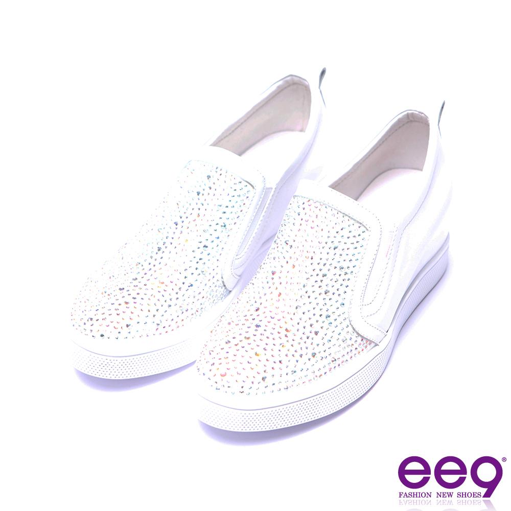 ee9 率性風采鑲嵌水鑽素面百搭內增高休閒鞋-白色
