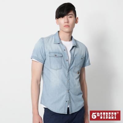 5th STREET 貼袋造型牛仔襯衫-男-漂淺藍