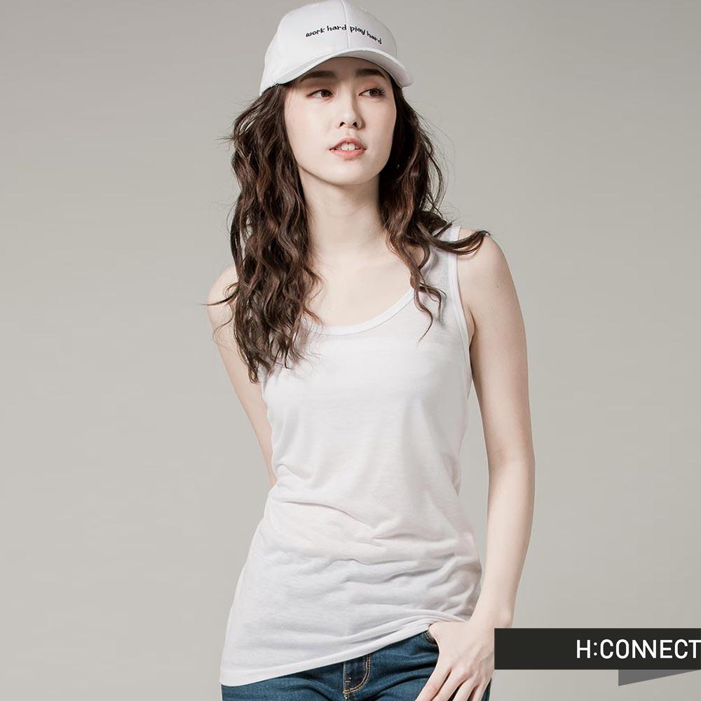 H:CONNECT 韓國品牌 女裝 - 簡約純色坦克背心- 白