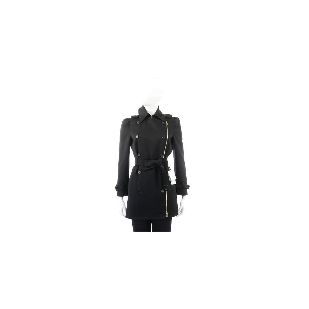 MOSCHINO 黑色排釦設計綁帶風衣外套