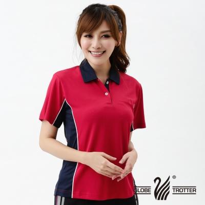 【遊遍天下】MIT台灣製女款吸濕排汗抗UV機能POLO衫S021紅/深藍
