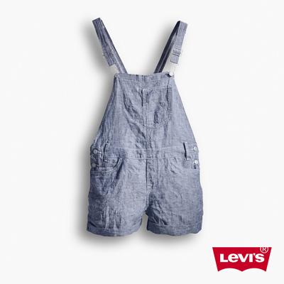 Levis-女款淺藍色連身丹寧吊帶短褲