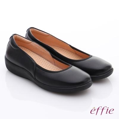 effie挺麗氣墊 全真皮素面彈力奈米休閒鞋 黑色